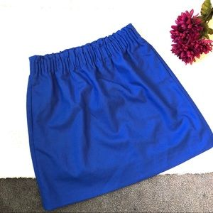 J. Crew Factory Blue A-Line Pucker Mini Skirt NWT